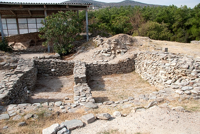ancient stone foundations in Sesklo - Greece