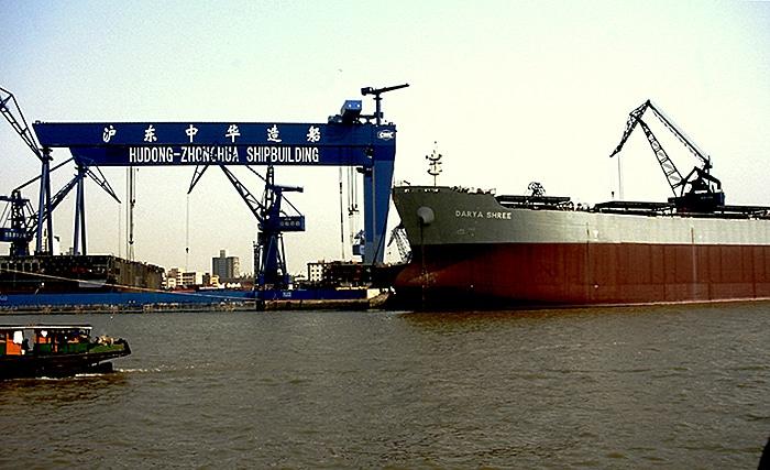 Dock am Huangpu-Fluss