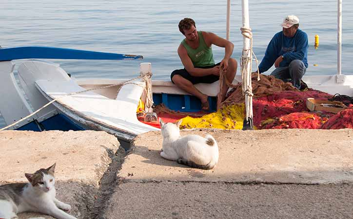 fishermen in Koroni Greece