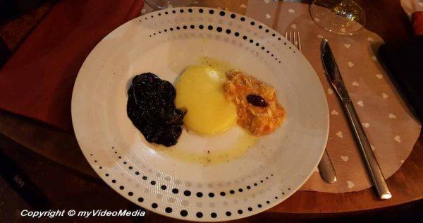 Black octopus cod and polenta