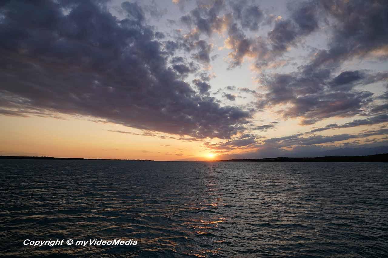 Sunset cruise on the Issyk-Kul