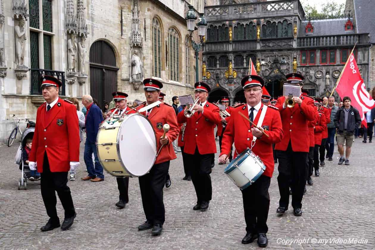 Parade first of May in Bruges