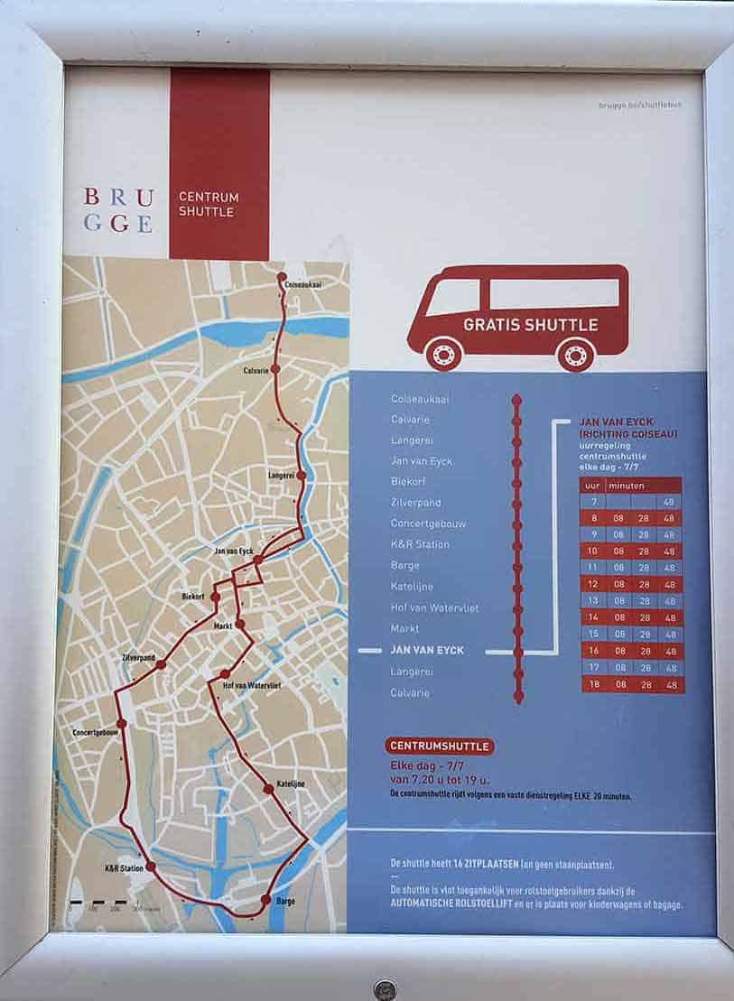 Free shuttle in Bruges schedule