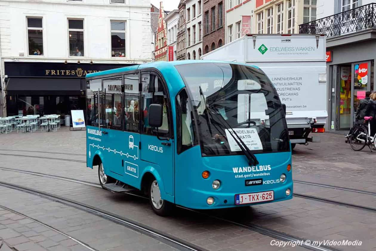 Free electric shuttle bus in Ghent