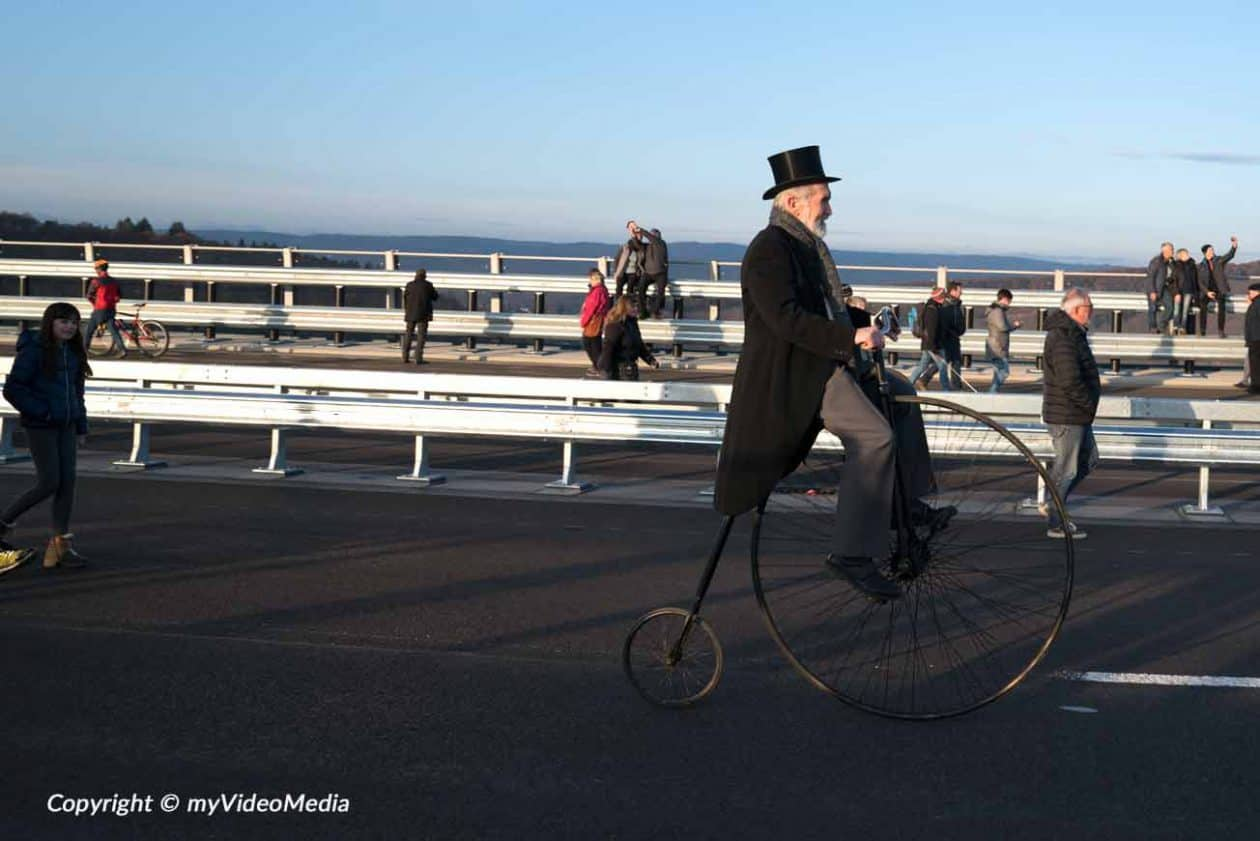 Penny-farthing on High Moselle Bridge