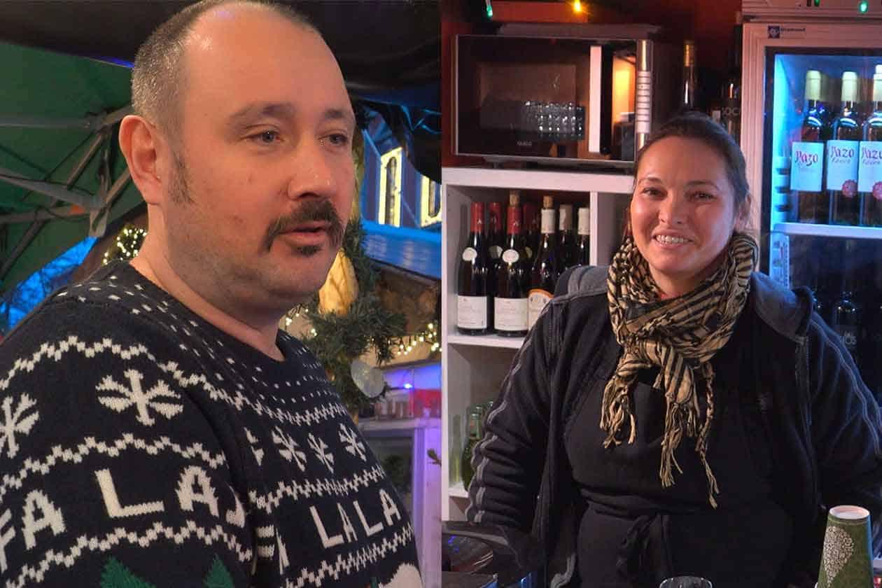 Nettes Ehepaar Weihnachtsmarkt Luettich
